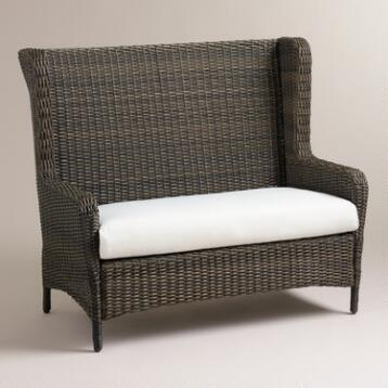 Himara All-Weather Wicker Wingback Settee