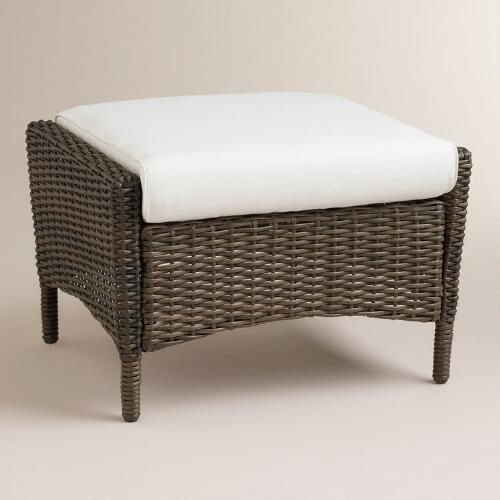 Himara All-Weather Wicker Wingback Ottoman