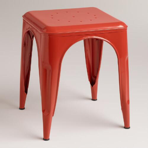 Orange Cargo Stools, Set of 2