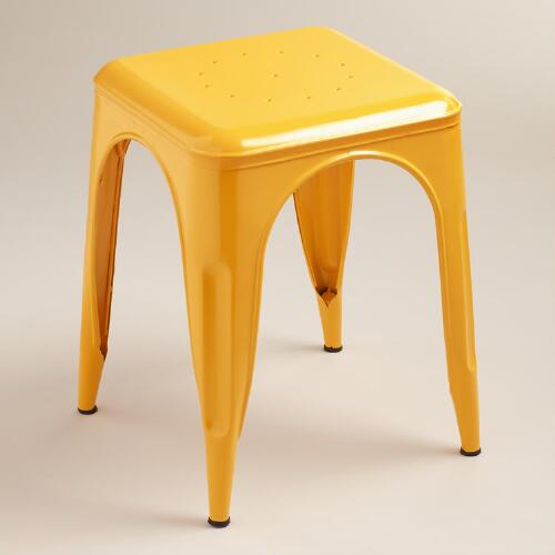 Yellow Cargo Stools, Set of 2