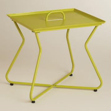Green Rectangular Metal Tray Table