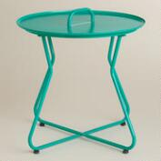 Blue Round Metal Tray Table