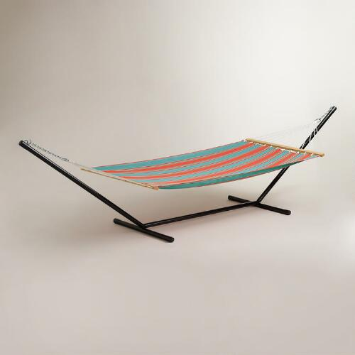 Blue Striped Hammock and Stand