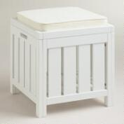 Antique White Storage Stool