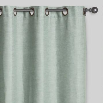 Aqua Linen Grommet Top Curtain