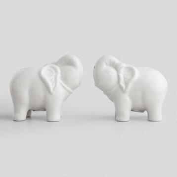 White Elephant Salt and Pepper Shakers, Set of 2