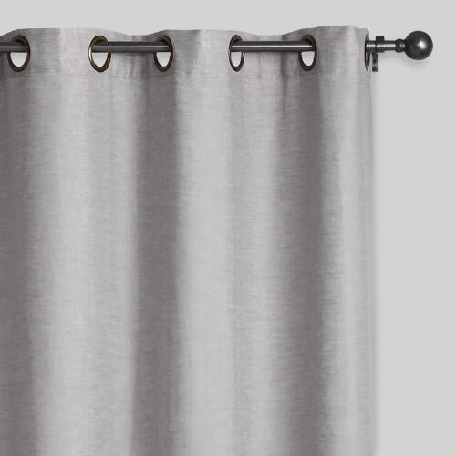 Slate Gray Linen Grommet Top Curtain