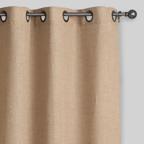 Hemp Burlap Grommet Top Curtains, Set of 2