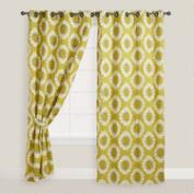 Green Ikat Grommet Top Curtain