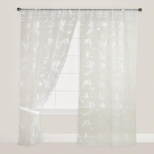 Birds on Branch Sheer Burnout Curtain