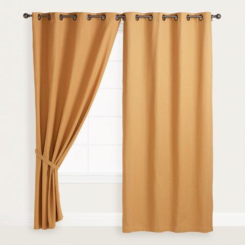 Gold Bori Cotton Grommet Top Curtains, Set of 2