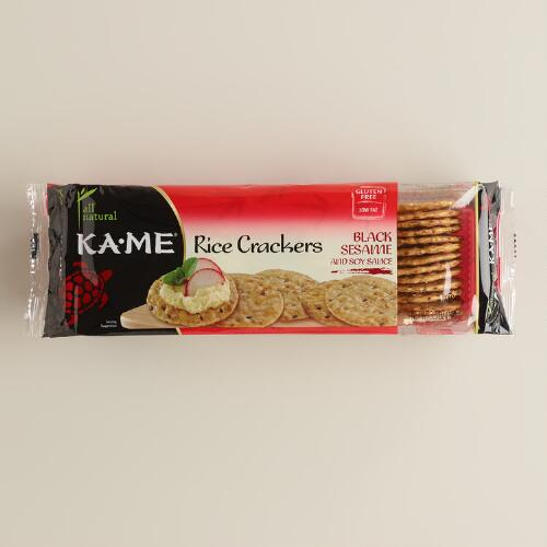 Ka-me Black Sesame and Soy Sauce Rice Crackers