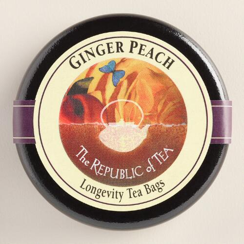 The Republic of Tea Ginger Peach Black Tea Tin, 6-Count