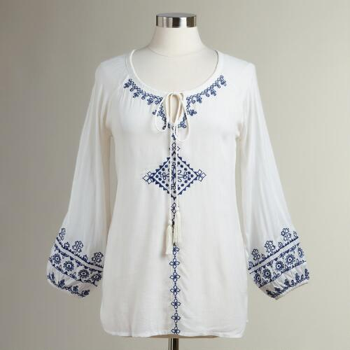 White and Blue Embroidered Kali Blouse