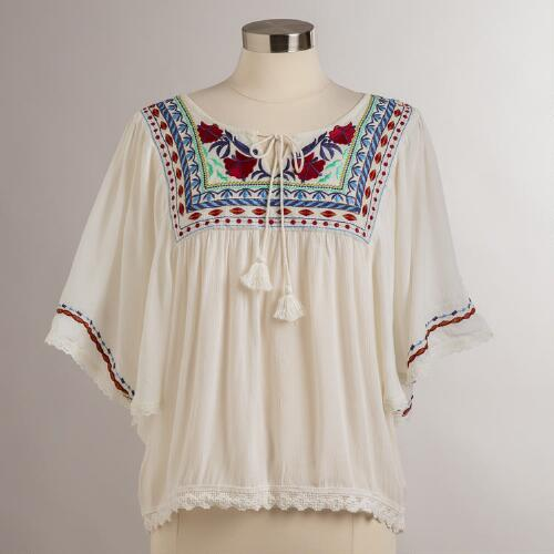 White Embroidered Lola Top