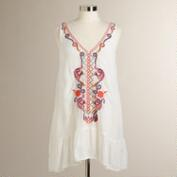 White Embroidered Sleeveless Adi Tunic