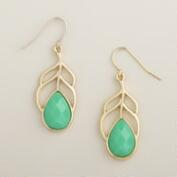 Gold and Mint Leaf Drop Earrings