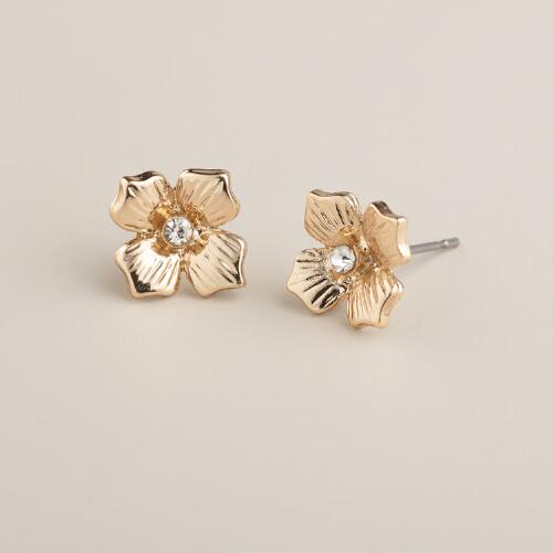 Gold Metal Flower Stud Earrings