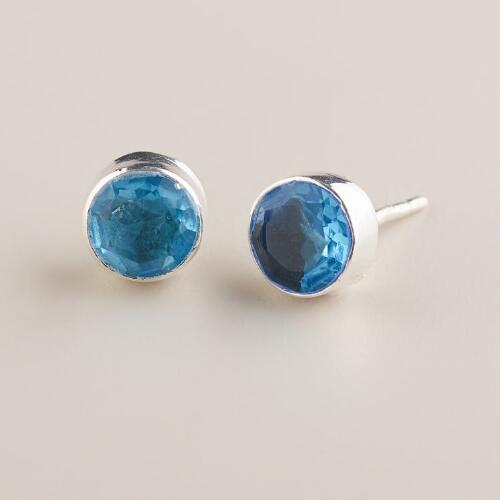 Silver and Blue Topaz Stud Earrings