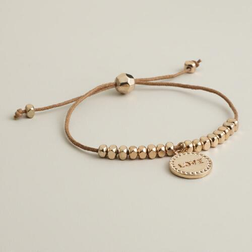 Gold Love Charm Friendship Bracelet