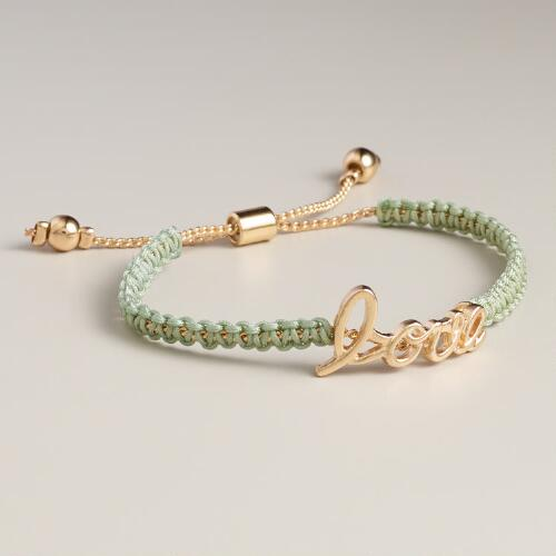 Mint and Gold Love Friendship Bracelet