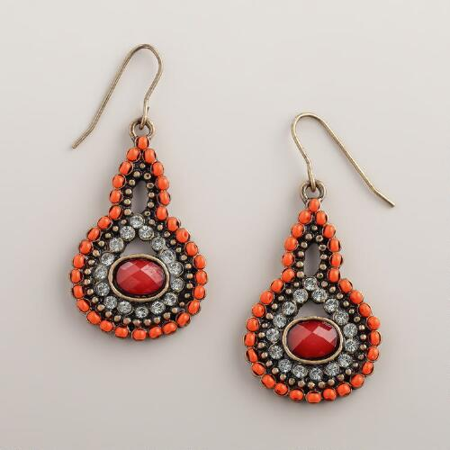 Coral Bead and Rhinestone Teardrop Earrings