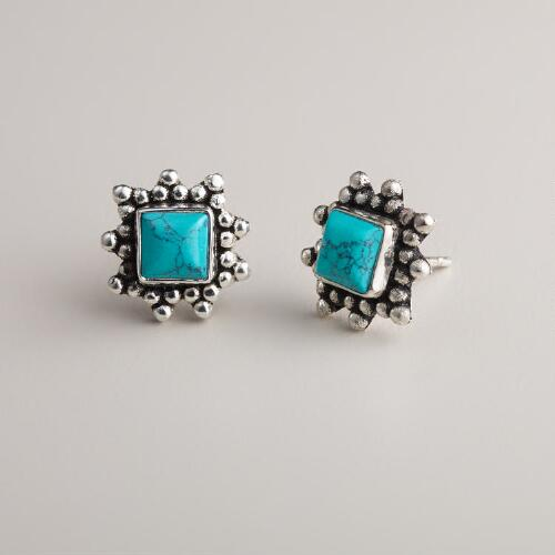 Silver and Turquoise Square Stud Earrings