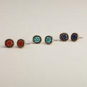 Turquoise, Coral and Blue Stud Earring Trio, Set of 3