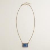 Gold and Blue Square Pendant Necklace