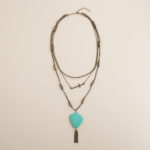 Gold, Turquoise and Cross Multi-Layer Necklace