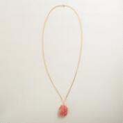 Coral and Gold Stone Pendant Necklace