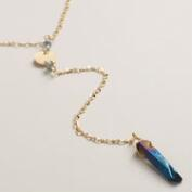 Gold and Genuine Quartz Lariat Necklace