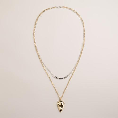 Gold and Silver 2-Layer Arrowhead Pendant Necklace