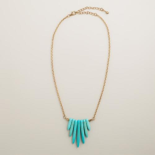 Gold and Turquoise Fringe Pendant Necklace
