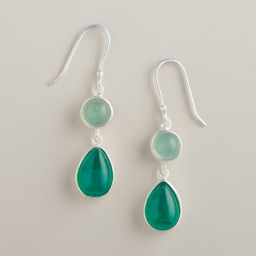 Silver and Green Double Drop Earrings