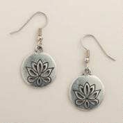 Silver Lotus Drop Earrings