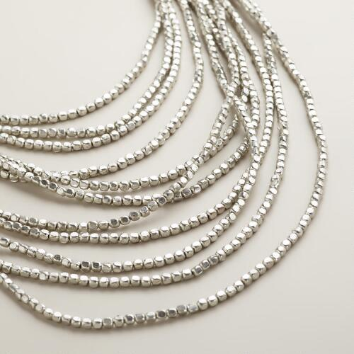 Silver Multi-Layer Bead Necklace