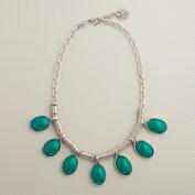 Green and Silver Drop Necklace