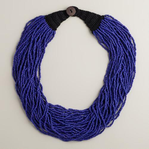 Blue Multi-Strand Beaded Necklace