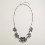 Silver Aztec 5-Station Metal Necklace