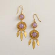 Gold and Amethyst Dream Catcher Drop Earrings
