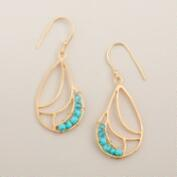 Gold and Mint Bead Drop Earrings