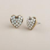 Silver and Opal Heart Stud Earrings