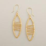 Gold Wire Wrap Drop Earrings