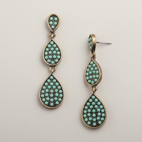 Gold and Mint Bead 3-Tier Earrings