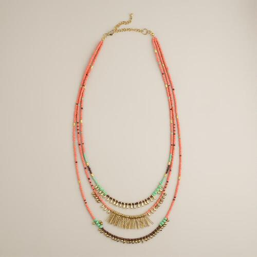 Coral and Mint Bead Layered Necklace