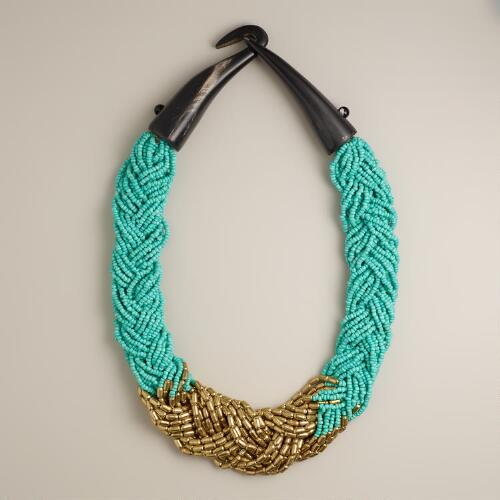 Mint and Gold Braided Seed Bead Necklace