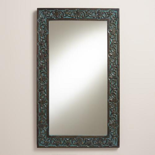 Blue Neela Carved Mirror