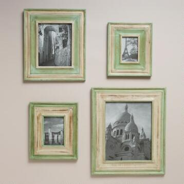 Green and White Piper Wall Frames