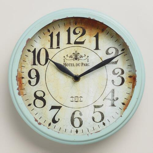 Small Blue Round Micah Clock